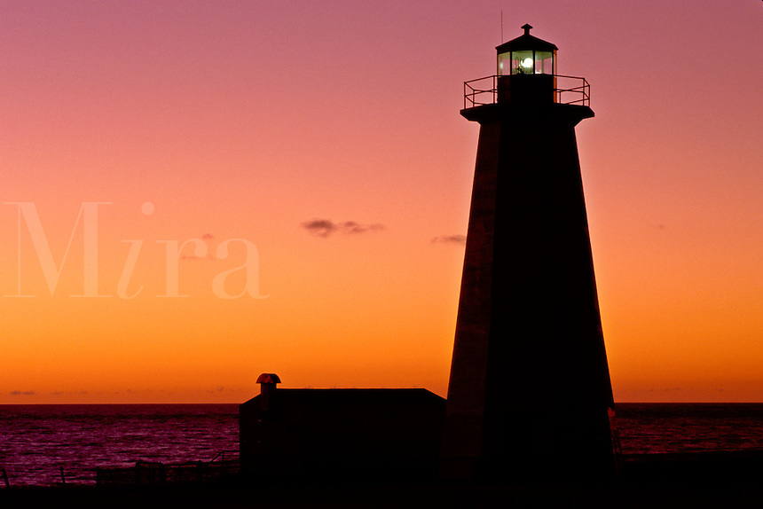 lighthouse, sunset, sunrise, Newfoundland, NF, Canada, Lighthouse at Cape Anguilla at sunset on the Gulf of St. Lawrence.