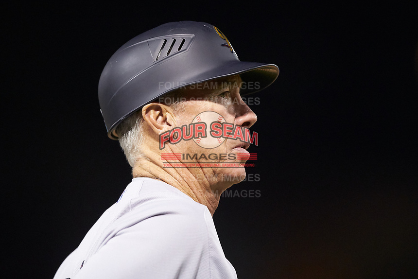Scranton/Wilkes-Barre RailRiders manager Bobby Mitchell (17) coaches third base during the game against the Charlotte Knights at BB&T BallPark on April 12, 2018 in Charlotte, North Carolina.  The RailRiders defeated the Knights 11-1.  (Brian Westerholt/Four Seam Images)