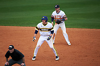 Michigan Wolverines first baseman Carmen Benedetti (43) leads off second in front of shortstop Anthony Massicci during the first game of a doubleheader against the Canisius College Golden Griffins on June 20, 2016 at Tradition Field in St. Lucie, Florida.  Michigan defeated Canisius 6-2.  (Mike Janes/Four Seam Images)