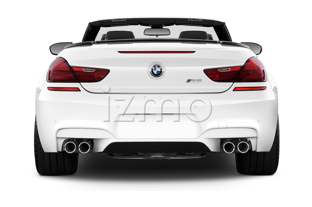Straight rear view of 2016 BMW M6 Convertible - 2 Door Convertible Rear View  stock images