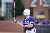 Jordan Sergent (9) of the High Point Panthers at bat against the NJIT Highlanders during game two of a double-header at Williard Stadium on February 18, 2017 in High Point, North Carolina.  The Highlanders defeated the Panthers 4-2.  (Brian Westerholt/Four Seam Images)