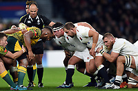 Ben Moon of England looks on at a scrum. Quilter International match between England and Australia on November 24, 2018 at Twickenham Stadium in London, England. Photo by: Patrick Khachfe / Onside Images
