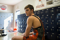NWA Democrat-Gazette/CHARLIE KAIJO Rogers Heritage senior Chance McCrary poses for a portrait, Monday, February 12, 2018 at the annex gymnasium at Rogers New Technology High School in Rogers. <br />
