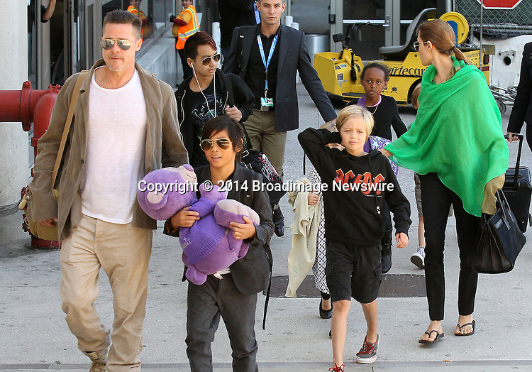 Pictured: Brad Pitt, Angelina Jolie, Shiloh Nouvel Jolie-Pitt, Maddox Chivan Jolie-Pitt, Pax Thien Jolie-Pitt, Knox Leon Jolie-Pitt, Zahara Marley Jolie-Pitt, Vivienne Marcheline Jolie-Pitt<br /> Mandatory Credit &copy; Ben Foster/Broadimage<br /> Brad Pitt, Angelina Jolie and family arriving at the Los Angeles International Airport<br /> <br /> 2/5/14, Los Angeles, California, United States of America<br /> <br /> Broadimage Newswire<br /> Los Angeles 1+  (310) 301-1027<br /> New York      1+  (646) 827-9134<br /> sales@broadimage.com<br /> http://www.broadimage.com<br /> <br /> <br /> Pictured: Brad Pitt, Angelina Jolie, Shiloh Nouvel Jolie-Pitt, Maddox Chivan Jolie-Pitt, Pax Thien Jolie-Pitt, Knox Leon Jolie-Pitt, Zahara Marley Jolie-Pitt, Vivienne Marcheline Jolie-Pitt<br /> Mandatory Credit &copy; Ben Foster/Broadimage<br /> Brad Pitt, Angelina Jolie and family arriving at the Los Angeles International Airport<br /> <br /> 2/5/14, Los Angeles, California, United States of America<br /> Reference: 020514_HDLA_BDG_031<br /> <br /> Broadimage Newswire<br /> Los Angeles 1+  (310) 301-1027<br /> New York      1+  (646) 827-9134<br /> sales@broadimage.com<br /> http://www.broadimage.com