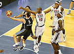 USA's Kobe Bryant (c), Carmelo Anthony (b) and LeBron James (r) and Argentina's Emanuel Ginobili during friendly match.July 22,2012. (ALTERPHOTOS/Acero)