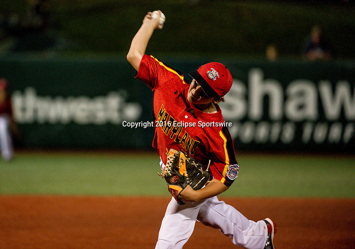 ABERDEEN, MD - AUGUST 01: Jack Snyder #21 of Bel Air (MD) pitches for Bel Air (MD) against Honolulu (HI) during a game between Pacific Southwest and Maryland during the Cal Ripken World Series at The Ripken Experience Powered by Under Armour on August 1, 2016 in Aberdeen, Maryland. (Photo by Ripken Baseball/Eclipse Sportswire/Getty Images)