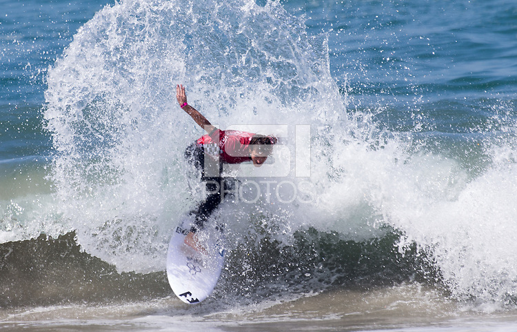 Huntington Beach, CA - Saturday August 4, 2018: Reef Heazlewood in action during a World Surf League (WSL) Qualifying Series (QS) Men's Round of 16 heat at the 2018 Vans U.S. Open of Surfing on South side of the Huntington Beach pier.