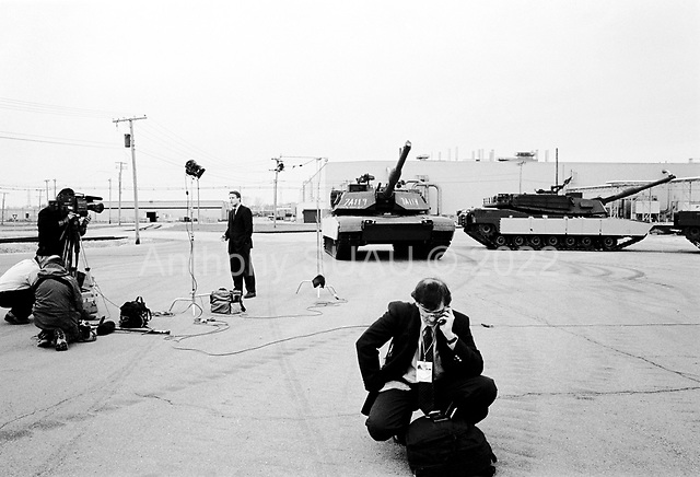 Lima, Ohio.USA.April 24, 2003..The press goes live after the visit of US President George W. Bush to the Lima Army Tank Plant.