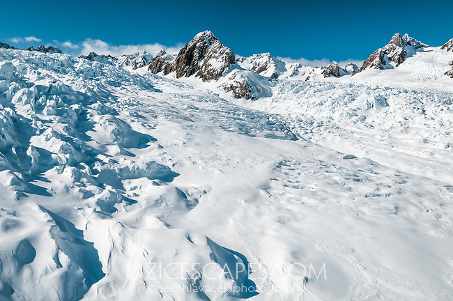 Vast icefield of upper parts of Fox Glacier, Westland Tai Poutini National Park, West Coast, UNESCO World Heritage Area, New Zealand,, NZ