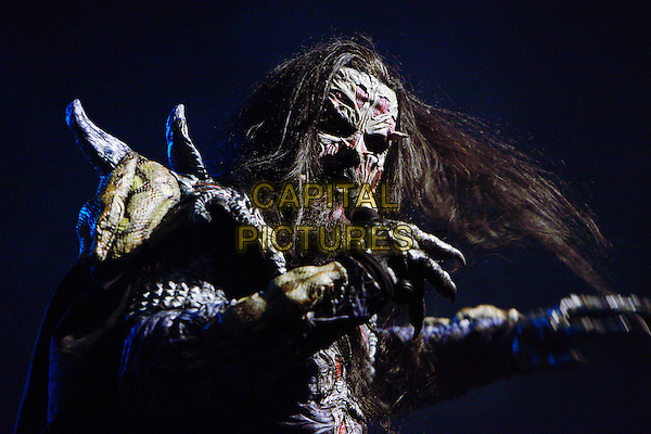 Lordi.Concert in Moscow.November 6th, 2010.on stage in concert live gig performance performing music half length make-up costume scary singing beard facial hair .CAP/PER/SB.©SB/PersonaStars/CapitalPictures