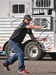 Myles Coats practices roping before the start of the Reno Rodeo in Reno, Nev., on Friday, June 20, 2014.<br />