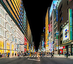 Ginza at night is Tokyo's upmarket shopping area, Japan