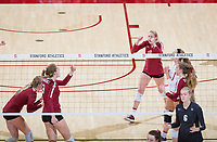 STANFORD, CA - November 3, 2018: Kate Formico, Holly Campbell, Jenna Gray, Meghan McClure, Morgan Hentz at Maples Pavilion. No. 1 Stanford Cardinal defeated No. 15 Colorado Buffaloes 3-2.