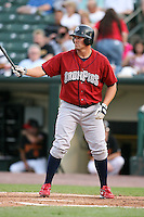 August 3, 2009:  Andy Tracy of the Lehigh Valley IronPigs at bat during a game at Frontier Field in Rochester, NY.  Lehigh Valley is the International League Triple-A affiliate of the Philadelphia Phillies.  Photo By Mike Janes/Four Seam Images