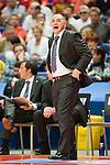 Pablo Laso debuta como entrenador del Real Madrid en la Liga Endesa. 09  Octubre 2011. Palacio de los Deportes...Photo: Marcos / ALFAQUI
