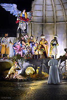 Pope Francis prays in front of a Nativity scene in St Peter's square at the Vatican.December 31,2017