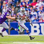 19 October 2014: Buffalo Bills cornerback Leodis McKelvin returns a kickoff during the third quarter against the Minnesota Vikings at Ralph Wilson Stadium in Orchard Park, NY. The Bills defeated the Vikings 17-16 in a dramatic, last minute, comeback touchdown drive. Mandatory Credit: Ed Wolfstein Photo *** RAW (NEF) Image File Available ***