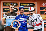 Julian Alaphilippe (FRA) Deceuninck-Quick Step wins with Oliver Naesen (BEL) AG2R La Mondiale 2nd and Michal Kwiatkowski (POL) Team Sky in 3rd place on the podium at the end of the 110th edition of Milan-San Remo 2019 running 291km from Milan to San Remo, Italy. 23rd March 2019.<br /> Picture: LaPresse/Marco Alpozzi | Cyclefile<br /> <br /> <br /> All photos usage must carry mandatory copyright credit (© Cyclefile | LaPresse/Marco Alpozzi)