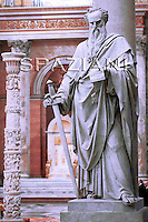 Statue St. Paul Outside the Walls' Basilica in Rome,Pope Benedict XVI during the ecumenical ceremony of Vespers in the in St. Paul Outside the Walls' Basilica in Rome, Italy, 25 January 2010.