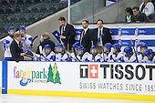 Erik Haula (Finland - 12), Petri Pulkkinen (Finland - Coach), ?, Jari Jalasvaara (Finland - Manager), Mikael Aaltonen (Finland - 2), Arto Sihvonen (Finland - Team Leader), ?, ?, Petri Tuononen (Finland - Goalie Coach), ?, ?, Mika Marttila (Finland - Head Coach), ?, ?, Joonas Nättinen (Finland - 18), Teemu Tallberg (Finland - 29), ?, ?, ? - Russia defeated Finland 4-0 at the Urban Plains Center in Fargo, North Dakota, on Friday, April 17, 2009, in their semi-final match during the 2009 World Under 18 Championship.