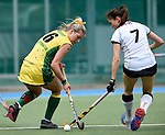 GER - Mannheim, Germany, May 24: During the U16 Girls match between Australia (green) and Germany (white) during the international witsun tournament on May 24, 2015 at Mannheimer HC in Mannheim, Germany. Final score 0-6 (0-3). (Photo by Dirk Markgraf / www.265-images.com) *** Local caption *** Alice Arnott #6 of Australia, Emma Foerter #7 of Germany