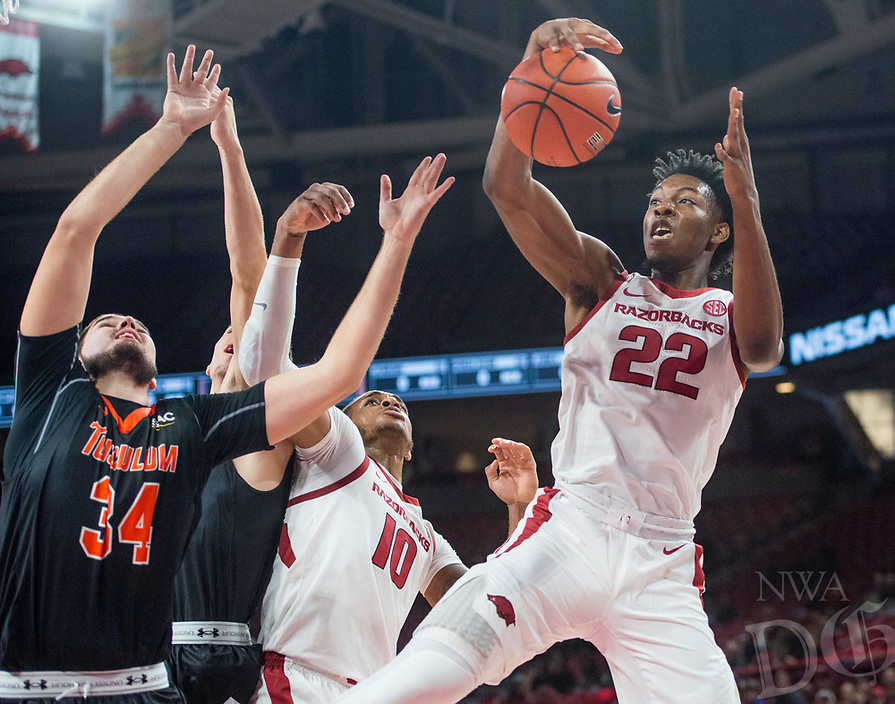 NWA Democrat-Gazette/BEN GOFF @NWABENGOFF <br /> Gabe Osabuohien (22) of Arkansas wins a rebound in the first half vs Tusculum Friday, Oct. 26, 2018, during an exhibition game in Bud Walton Arena in Fayetteville.