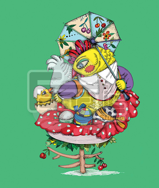 Illustration of chicken with Easter eggs over green background