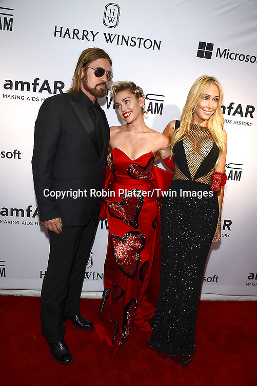 Billy Ray Cyrus, Miley Cyrus &amp; Tish Cyrus attend the 6th Annual amfAR New York Inspiration Gala on June 16, 2015 at Spring Studios in New York City, New York, USA.<br /> <br /> photo by Robin Platzer/Twin Images<br />  <br /> phone number 212-935-0770