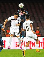 Raul Albiol   Andrea Bellottivdurante l'incontro  di calco d Seriden A  tra SSC Napoli e US Palermo    allo stadio San Paolo di Napoli , 24 Settembre  2014