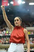 Arkansas coach Jordyn Wieber calls the Hogs Friday, Feb. 7, 2020, during the Razorbacks' meet with Georgia in Barnhill Arena in Fayetteville. Visit  nwaonline.com/gymbacks/ for a gallery from the meet.<br /> (NWA Democrat-Gazette/Andy Shupe)