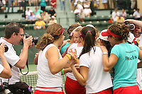 23 May 2006: Jessica Leck, Anne Yelsey and the team celebrate after Stanford's 4-1 win over the Miami Hurricanes in the 2006 NCAA Division 1 Women's Tennis Team Championships at the Taube Family Tennis Stadium in Stanford, CA.