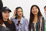 Fashion designer Mija Zhang (right) smiles with guests at her PH5 Spring Summer 2018 fashion show, on September 6, 2018; during New York Fashion Week.