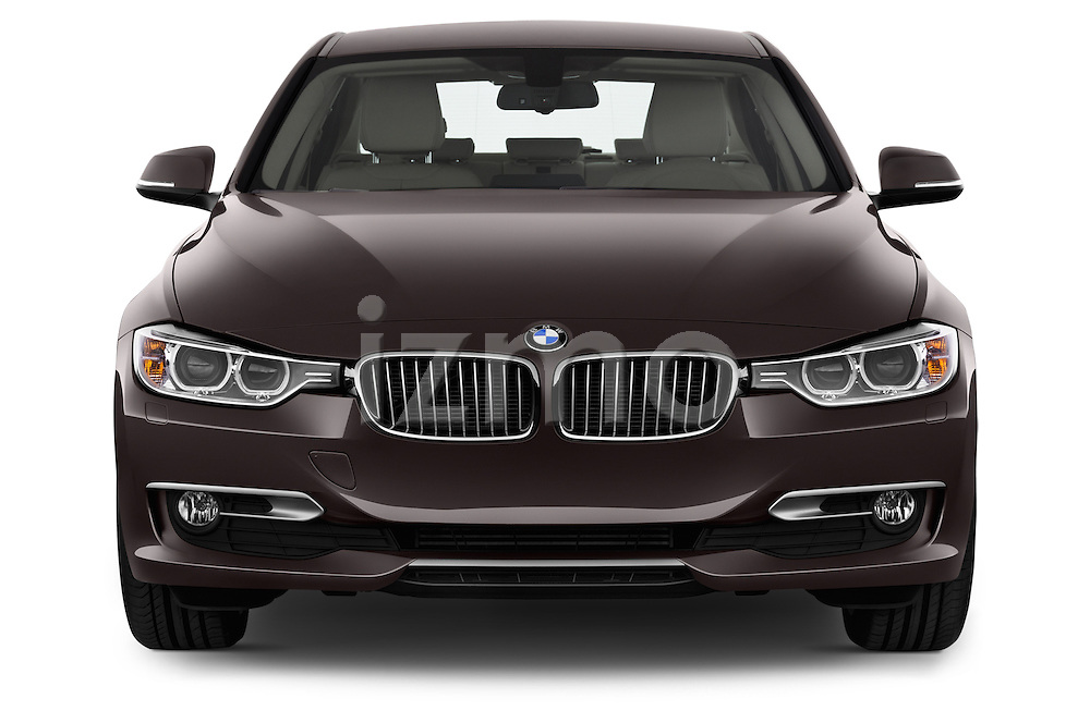 Straight front view of a 2012 - 2014 BMW 3-Series 320d Modern 4 Door Sedan.