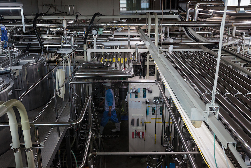 Inside the sterilisation and pasteurisation rooms of the Rakuou Milk products factory in Koriyama, Fukushima, Japan Sunday November 22nd 2015