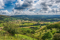 View looking towards Castleton from Mam Tor, Derbyshire in the Peak District.