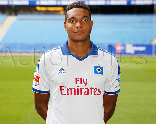 30.07.2013. Hamburg, Germany.  German Bundesliga soccer club Hamburger SV's Jonathan Tah poses during the official photo shoot for the season 2013-14 at Hamburg's Imtech Arena stadium.