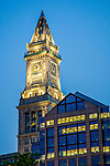 Boston's Custom Tower at night