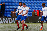 Anton Walkes of Portsmouth and Nathan Clarke of Portsmouth celebrate at full time. Oldham v Portsmouth League 1