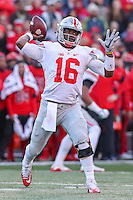 College Park, MD - November 12, 2016: Ohio State Buckeyes quarterback J.T. Barrett (16) attempts a pass  during game between Ohio St. and Maryland at  Capital One Field at Maryland Stadium in College Park, MD.  (Photo by Elliott Brown/Media Images International)