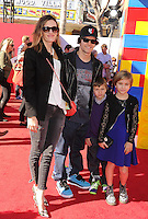 WWW.BLUESTAR-IMAGES.COM  Actor Mark Wahlberg (2nd from L) and family arrive at the Los Angeles premiere of 'The Lego Movie' held at Regency Village Theatre on February 1, 2014 in Westwood, California.<br /> Photo: BlueStar Images/OIC jbm1005  +44 (0)208 445 8588