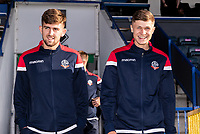 Bolton Wanderers' Jordan Boon and Adam Senior go out to inspect the pitch before the match<br /> <br /> Photographer Andrew Kearns/CameraSport<br /> <br /> The Carabao Cup First Round - Rochdale v Bolton Wanderers - Tuesday 13th August 2019 - Spotland Stadium - Rochdale<br />  <br /> World Copyright © 2019 CameraSport. All rights reserved. 43 Linden Ave. Countesthorpe. Leicester. England. LE8 5PG - Tel: +44 (0) 116 277 4147 - admin@camerasport.com - www.camerasport.com
