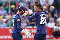 Daniel Lawrence of Essex (R) celebrates taking the wicket of Mark Wallace during Essex Eagles vs Glamorgan, NatWest T20 Blast Cricket at the Essex County Ground on 29th July 2016