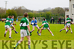 In Action Firies Padraig De Bruin tries to get throw the Listry defence in the Firies V Listry in the Castleisland Mart Kerry Junior Championship Round 2 at Farranfore on Saturday