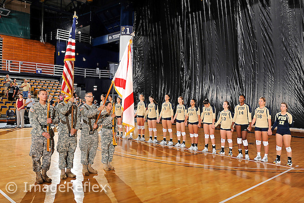 11 September 2011:  FIU ROTC presents colors prior to the match.  The FIU Golden Panthers defeated the Florida A&M University Rattlers, 3-0 (25-10, 25-23, 26-24), at U.S Century Bank Arena in Miami, Florida.