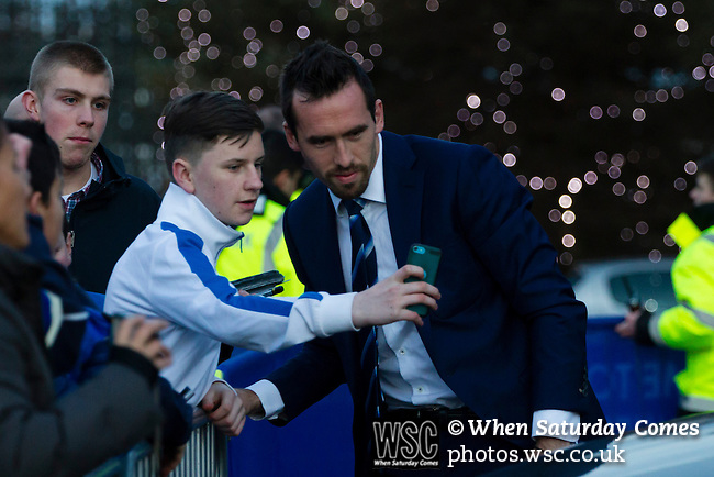 Leicester City 0 Manchester City 0, 29/12/2015. King Power Stadium, Premier League. Christian Fuchs signing autographs and posing for photographs at The King Power Stadium Leicester, before the goalless draw between Leicester City and Manchester City. Photo by Paul Thompson.