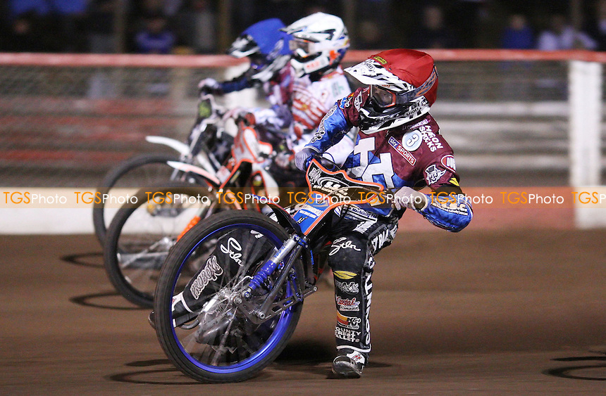 Heat 12: Davey Watt (red), Simon Stead (white) and Richie Worrall (blue) - Lakeside Hammers vs Swindon Robins, Elite League Speedway at the Arena Essex Raceway, Pufleet - 18/05/12 - MANDATORY CREDIT: Rob Newell/TGSPHOTO - Self billing applies where appropriate - 0845 094 6026 - contact@tgsphoto.co.uk - NO UNPAID USE.