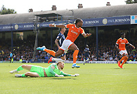 Blackpool's Nathan Delfouneso scores his side's second goal<br /> <br /> Photographer Rob Newell/CameraSport<br /> <br /> The EFL Sky Bet Championship - Southend United v Blackpool - Saturday 10th August 2019 - Roots Hall - Southend<br /> <br /> World Copyright © 2019 CameraSport. All rights reserved. 43 Linden Ave. Countesthorpe. Leicester. England. LE8 5PG - Tel: +44 (0) 116 277 4147 - admin@camerasport.com - www.camerasport.com