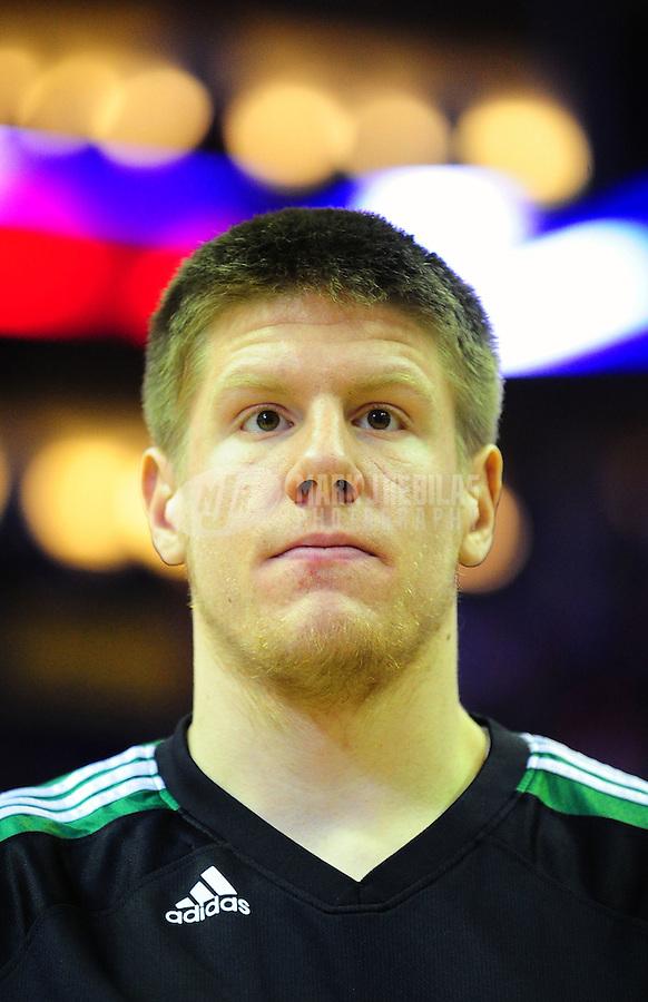 Jan. 28, 2011; Phoenix, AZ, USA; Boston Celtics forward Luke Harangody against the Phoenix Suns at the US Airways Center. Mandatory Credit: Mark J. Rebilas-