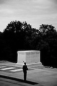 A sentinel guards the Tomb of the Unknown Soldier at Arlington National Cemetery in Arlington, Virginia.