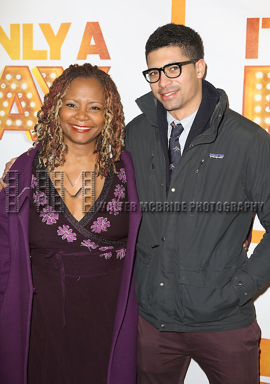 Tonya Pinkins and son attends the Re-Opening Night of 'It's Only A Play'  at the Bernard B. Jacobs Theatre on January 23, 2014 in New York City.